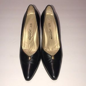 St. John Black Leather Heels Size 6.5